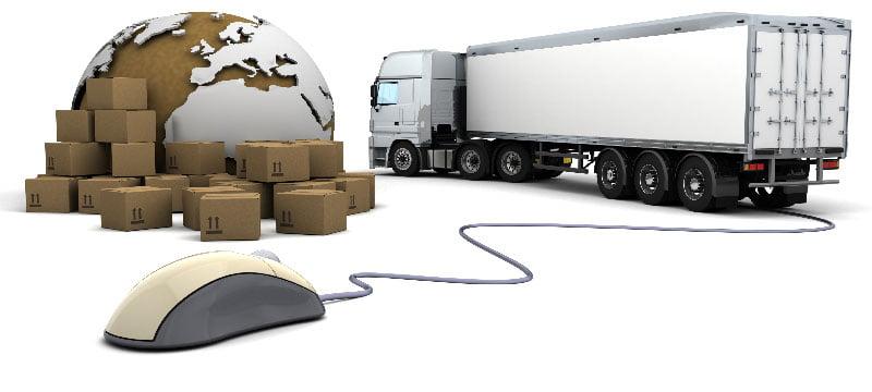 موس نشان ثبت سفارش آنلاین، یک کامیون، و تعدادی سفارش جهت ارسال بهمراه